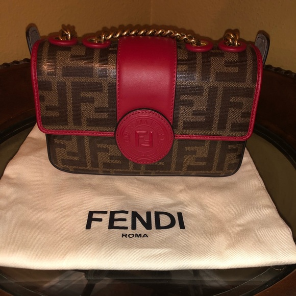 cbcbc81e3908 Fendi Handbags - Authentic FENDI Zucca Spalmati Mini Double F Bag